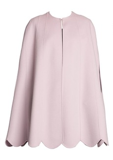 Valentino Cashmere & Wool Sleeveless Scalloped Cape