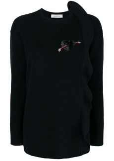 Valentino cashmere ruffle detail sweater