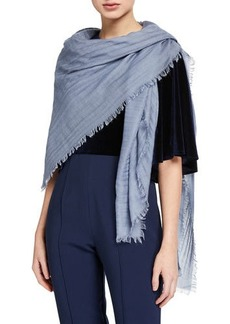 Valentino Cashmere-Wool Pleated Fringe Shawl