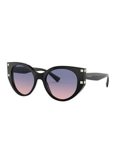Valentino Cat-Eye Acetate Sunglasses w/ Rockstud Trim