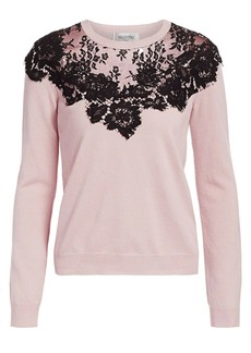 Valentino Chantilly Lace Inset Wool & Silk Knit Sweater