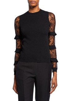 Valentino Chantilly-Lace Ruffled Sleeve Sweater