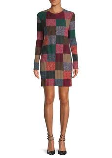 Valentino Check Cashmere & Wool Sweater Dress