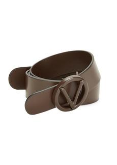 Valentino Circular Logo Buckle Leather Belt