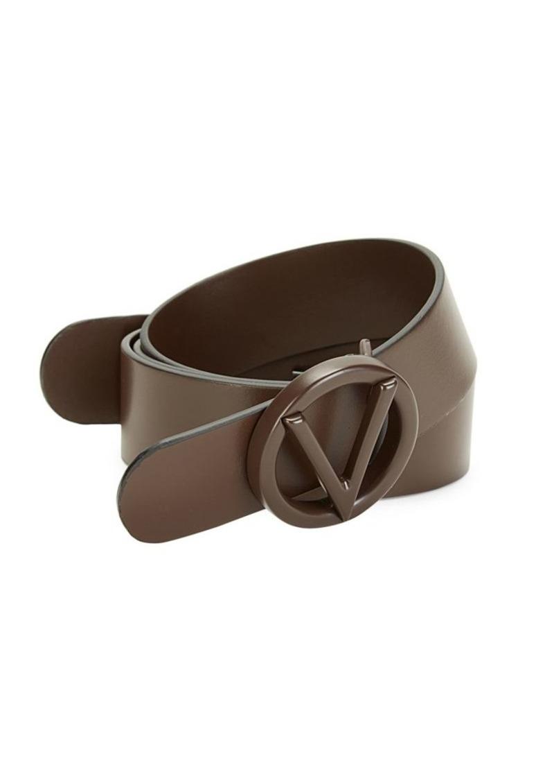 Circular Logo Buckle Leather Belt