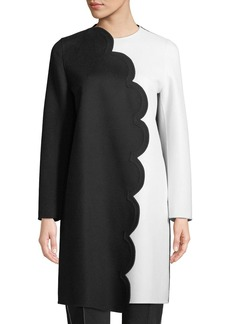 Valentino Colorblock Felt Coat w/ Scalloped Edge