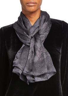 Valentino Colorblock Lace-Print Silk Scarf