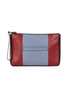 Valentino Colorblock Leather Clutch