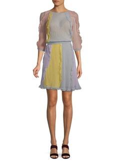 Valentino Colorblock Silk Mini Dress