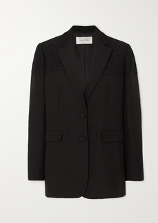 Valentino Corded Lace-paneled Wool And Silk-blend Blazer