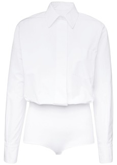 Valentino Cotton Bodysuit Shirt W/ Knit Details