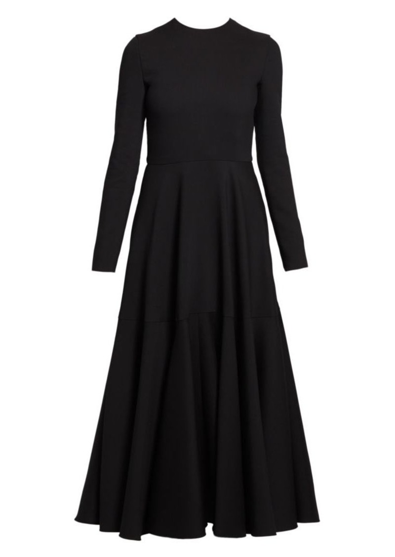 Valentino Crepe Couture Wool & Silk Circle Skirt Dress