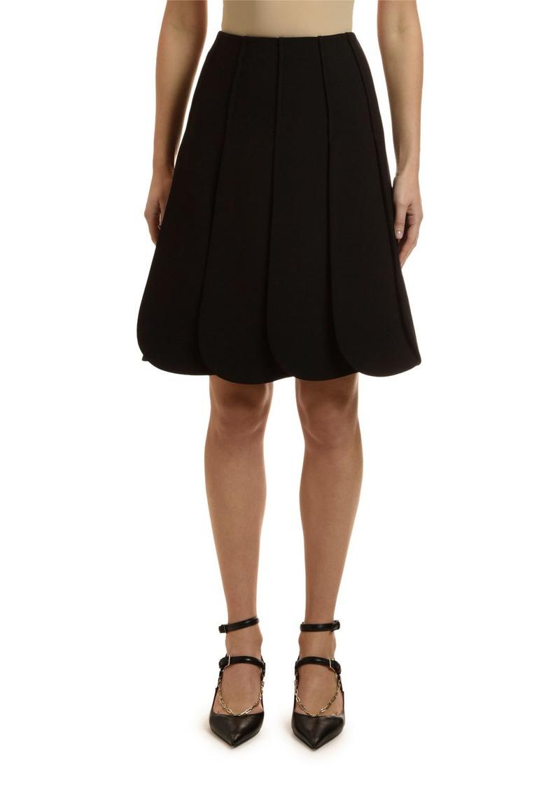 Valentino Crepe Petal-Pleated Skirt