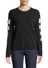 Valentino Crewneck Bow Long-Sleeve Wool-Cashmere Sweater