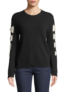 Valentino Crewneck Bow Long-Sleeve Wool-Cashmere Sweater