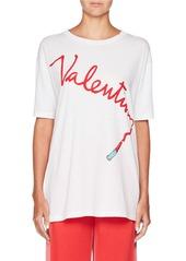 Valentino Crewneck Lipstick Logo Oversized Cotton T-Shirt