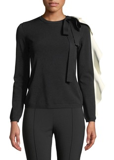 Valentino Crewneck Long-Sleeve Sweater w/ Contrast Ruffle