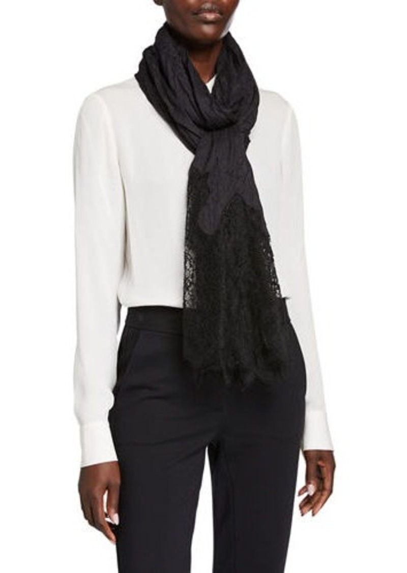 Valentino Crinkled Lace-Trim Shawl