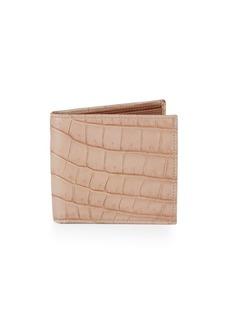 Valentino Crocodile-Embossed Leather Billfold Wallet