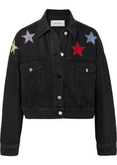Valentino Cropped Embellished Denim Jacket