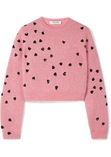 Valentino Cropped Sequin-embellished Mohair-blend Sweater