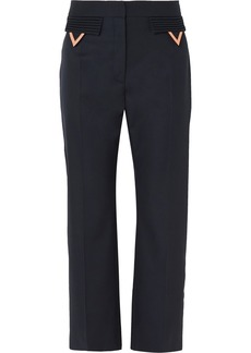 Valentino Cropped Wool-gabardine Straight-leg Pants