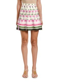 Valentino Daisy Degrade Pleated Skirt
