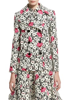 Valentino Double-Breasted Floral Wave Jacket