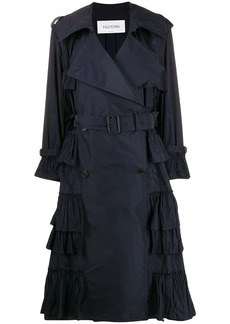 Valentino double-breasted pleated trench coat