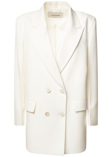 Valentino Double Breasted Wool Blend Jacket