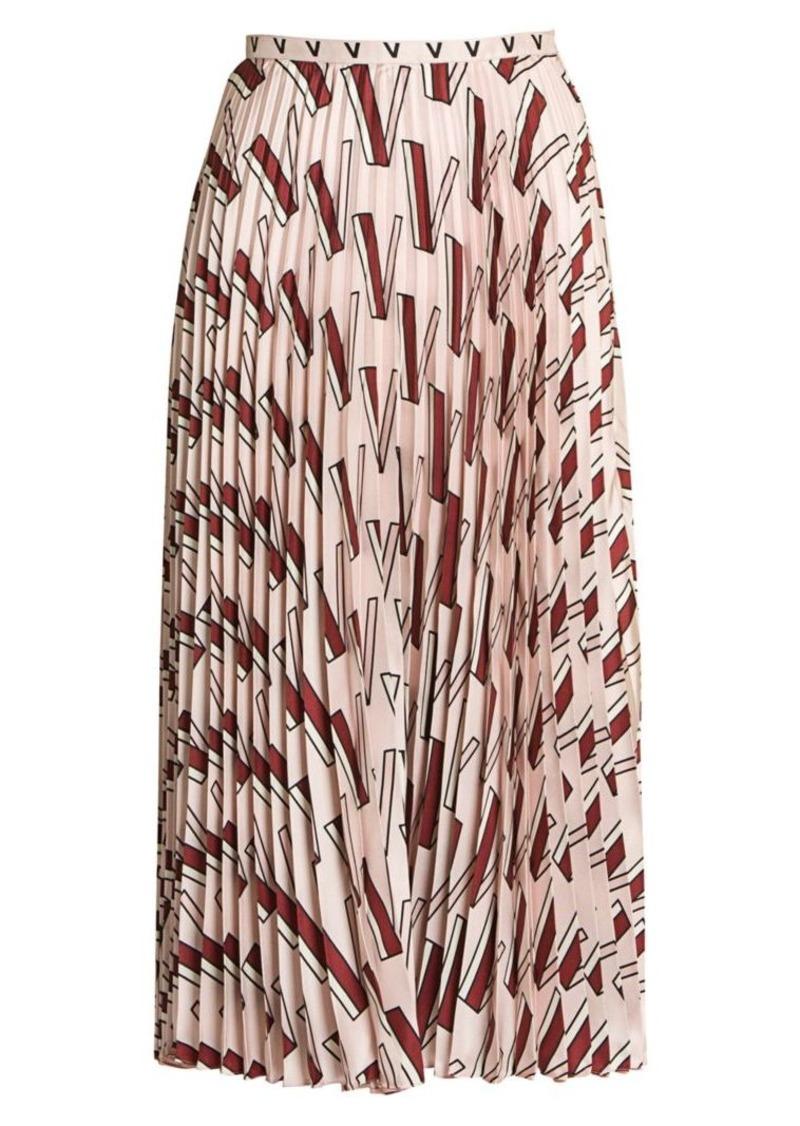 Valentino Double V Logo Plissé Silk Skirt