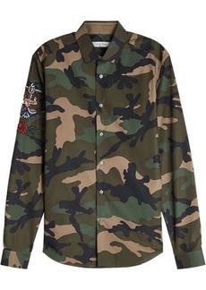 Valentino Embellished Camouflage Cotton Shirt