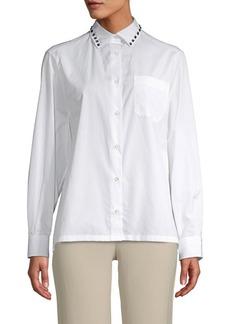 Valentino Embellished Cotton Button-Down Shirt