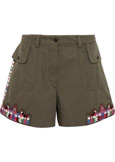 Valentino Embellished Cotton-twill Shorts
