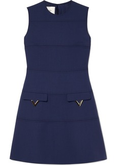Valentino Embellished Grain De Poudre Wool Dress