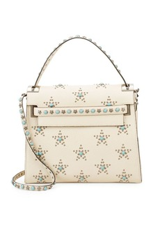 Valentino Embellished Leather Top Handle Bag