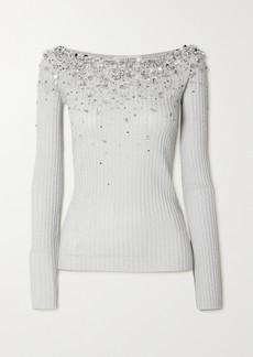 Valentino Embellished Metallic Ribbed-knit Top