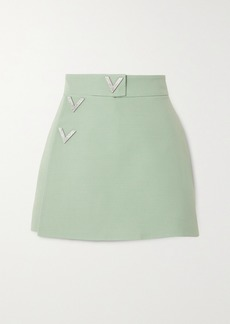 Valentino Embellished Wool And Silk-blend Crepe Shorts