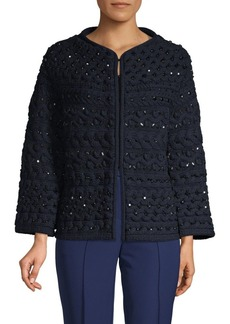 Valentino Embellished Wool Fleece Sweater