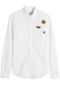 Valentino Embroidered and Embellished Cotton Shirt