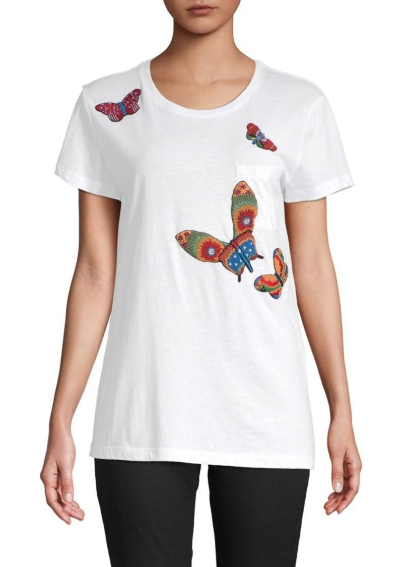 Valentino Embroidered Butterfly Tee
