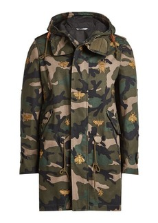 Valentino Embroidered Camouflage Cotton Parka