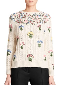 Valentino Embroidered Floral Cable-Knit Sweater