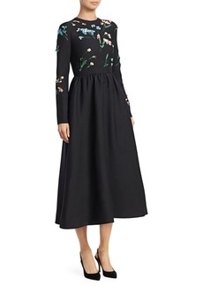 Valentino Embroidered Floral Wool Midi Dress