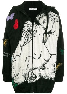 Valentino embroidered hooded cardigan