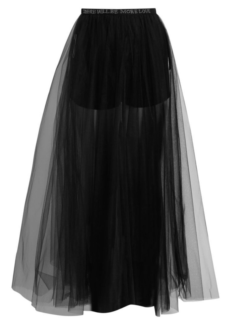 Valentino Embroidered Poetry Waist Tulle Skirt