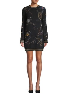 Valentino Embroidered Sweater Dress