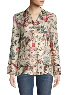 Valentino Fauna-Print Silk Button-Down Blouse