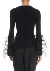 Valentino Feather-Cuff Crewneck Sweater