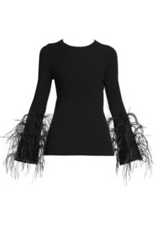 Valentino Feather Detail Ribbed Top
